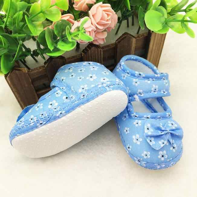 2019 Newborn Baby Boy Girl Baby Shoes Kids Baby Bowknot Printing Cloth Shoes Soft Soled Non-slip Footwear Crib Shoes #11 12 13