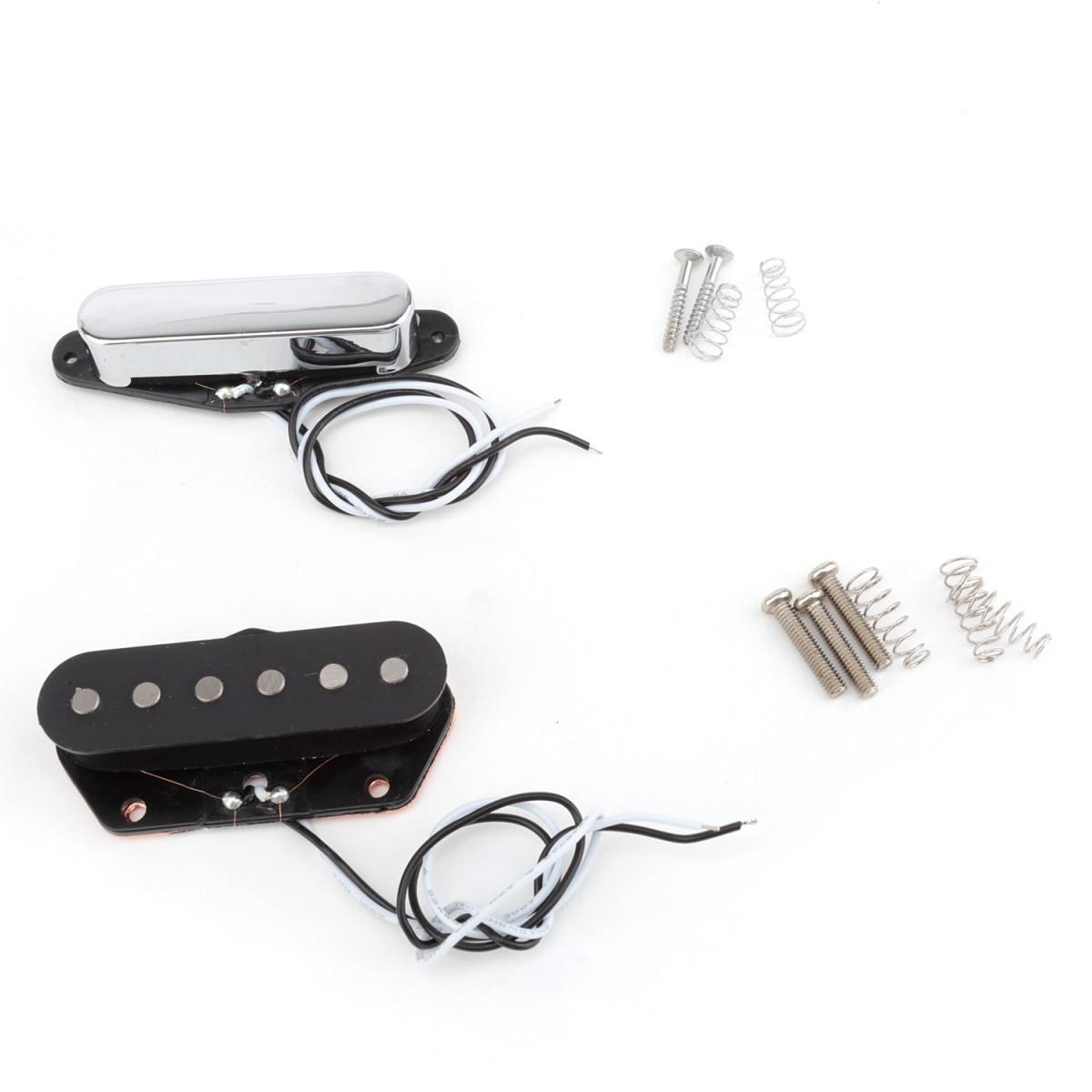 Musiclily Pro Alnico 5 noir 54mm pont & Chrome 50mm cou simple bobine micros ensemble pour Telecaster Tele guitare électrique