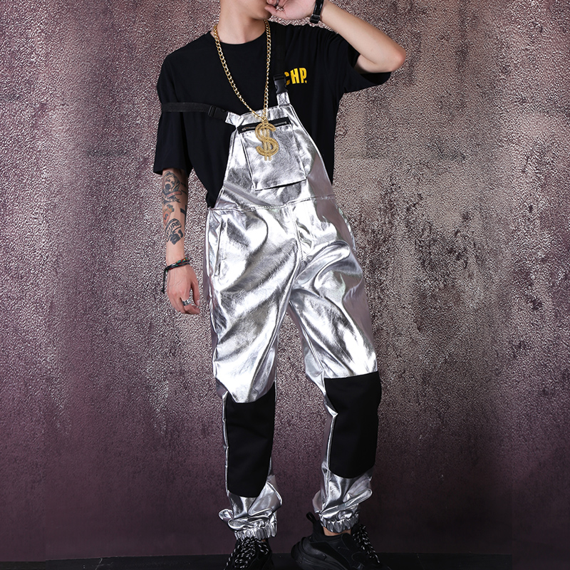 Male Women Fashion Casual Bib Pant Harem Trouser Stage Costume Men Streetwear Hip Hop Punk Silver Leather Overalls Jumpsuit Pant