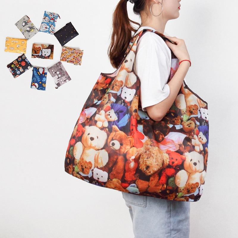 Foldable Shopping Bag Eco-friendly Folding Reusable Portable Shoulder Handbag Waterproof Polyester For Travel Grocery Bags