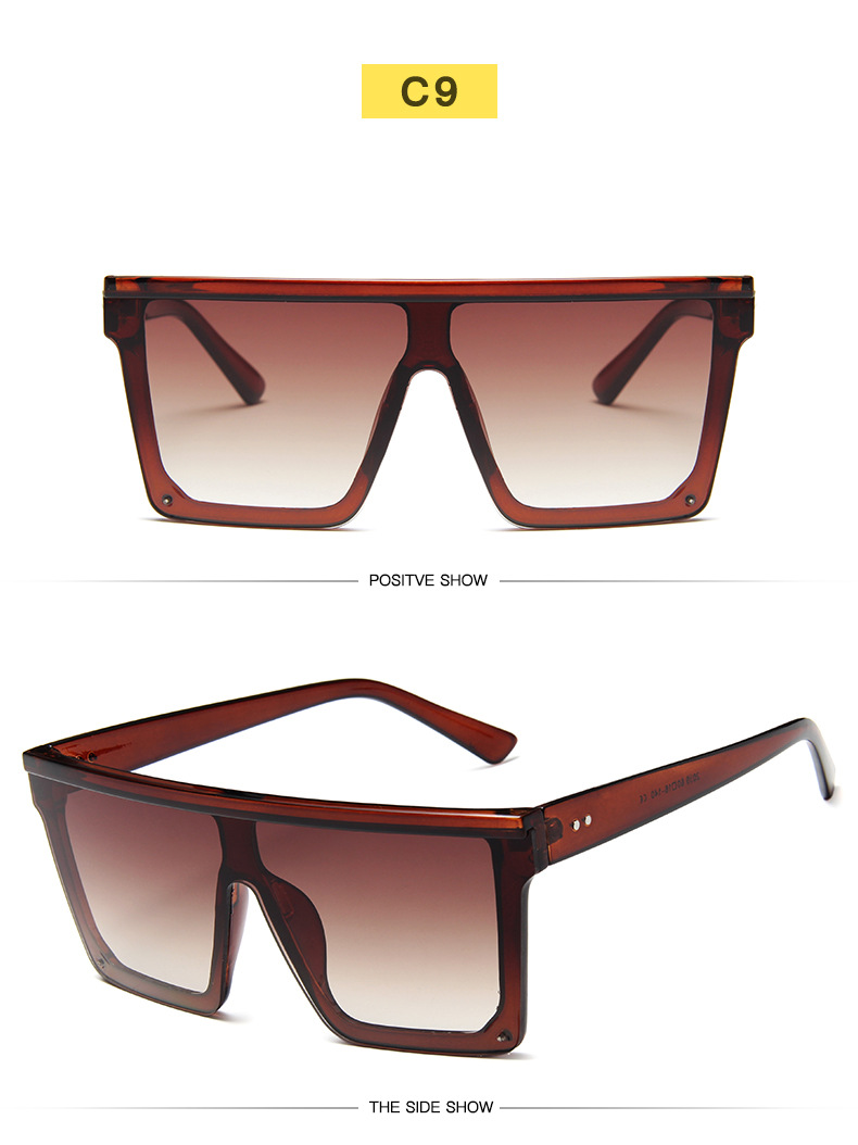Oversized Square Sunglasses Women 2019 Luxury Brand Fashion Flat Top Red Black Clear Lens One Piece Men Gafas Shade Mirror UV400 (15)