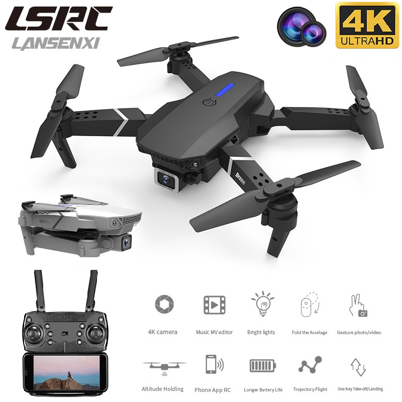 LANSENXI 2020 new E525 drone WIFI FPV and wide-angle high-definition 4K dual camera height keeping foldable quadrotor drone toy()