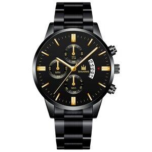 Image 4 - Модные Бизнес часы Роскошные мужские из нержавеющей стали пластиковые кварцевые часы мужские наручные часы Военные Спортивные часы Relogio Masculino
