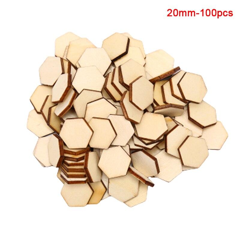 100 pçs/lote forma hexagonal madeira diy corte a laser enfeites decoração artesanato casamento