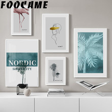 Posters and Prints Canvas Painting Abstract Nordic Flamingo Plant Vintage Line Wall Art Living Room Pictures Modern Decoration(China)
