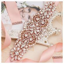 MissRDress свадебное платье с поясом и жемчугом, розовое золото, кристалл, стразы, свадебное платье для невесты, платье для подружки невесты JK849