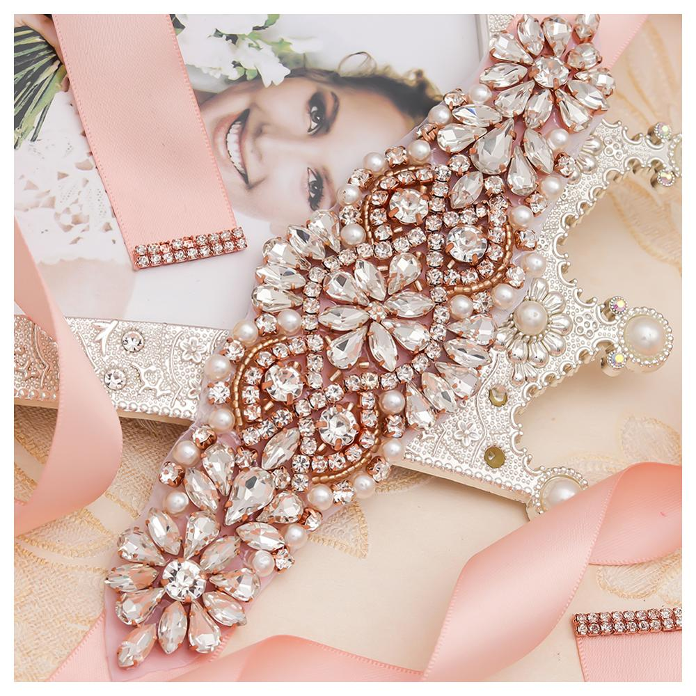 MissRDress Pearls Wedding Belt Dress Rose Gold Crystal Bridal Belt Rhinestones Wedding Sash For Bridal Bridesmaid Dresses JK849