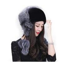 Women's Fur Hat Winter Natural Mink Fur Fox Fur Russian Women's Leather Hat 2019 New Fashion Trend Cap