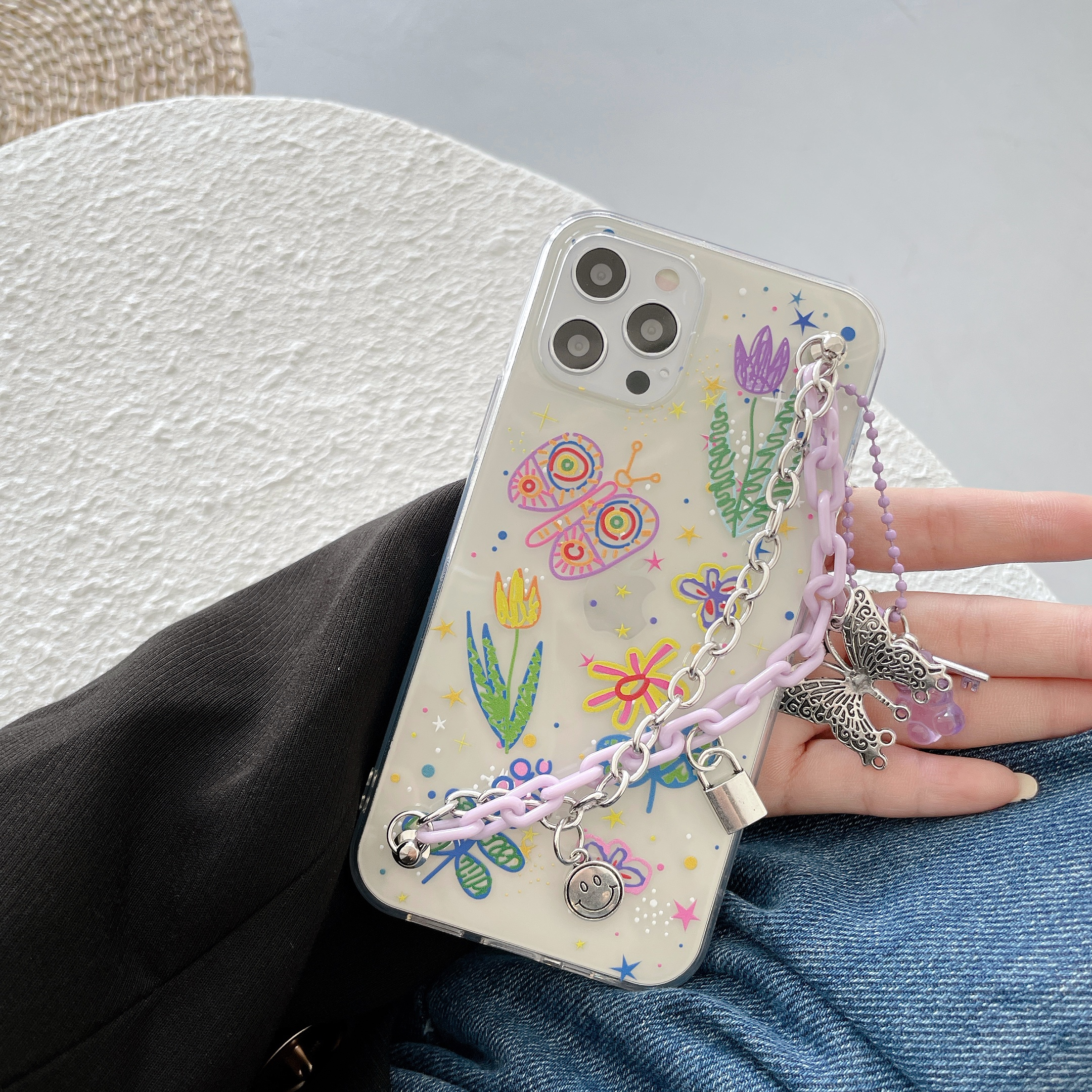 Butterfly Flower Bracelet Transparent Soft Phone Case For iPhone 12 Pro Max MiNi 11 Pro Max X XR XS MAX 8 7 Plus SE 2020 Cover