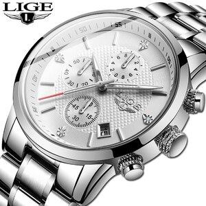 Мужские часы LIGE, аналоговые часы из нержавеющей стали, водонепроницаемые кварцевые наручные часы с датой, 2020