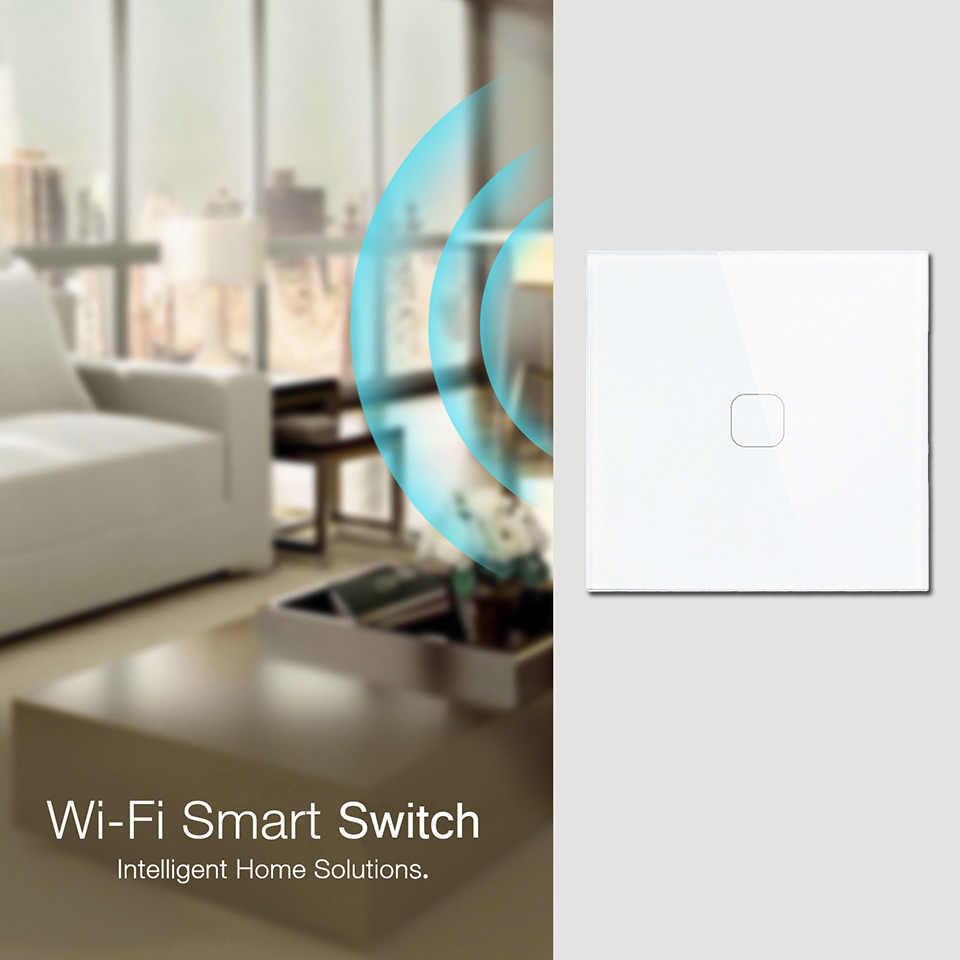 Esooli EU/UK WIFI inteligentny przełącznik dotykowy APP bezprzewodowe światło zdalne przełącznik do montażu ściennego panel ze szkła kryształowego współpracuje z Alexa/Google Home