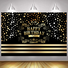 Happy Birthday Party Backdrop Sequin Stripe Black Gold Glitter Adult Photography Background Shining Dots Banner Photocall