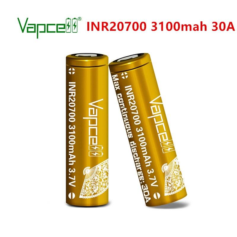 Литий-ионный аккумулятор Vapcell 20700, 3100 мАч, 30 А, 3,7 в, перезаряжаемый литиевый элемент для электроинструментов, фонариков, бесплатная доставка