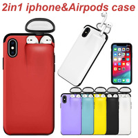 for AirPods Holder for iPhone 11 Pro Max Case Xs Max Xr X 10 8 7 Plus Cover Hard Case Original New Design Hot Sale Dropshipping Fitted Cases    -