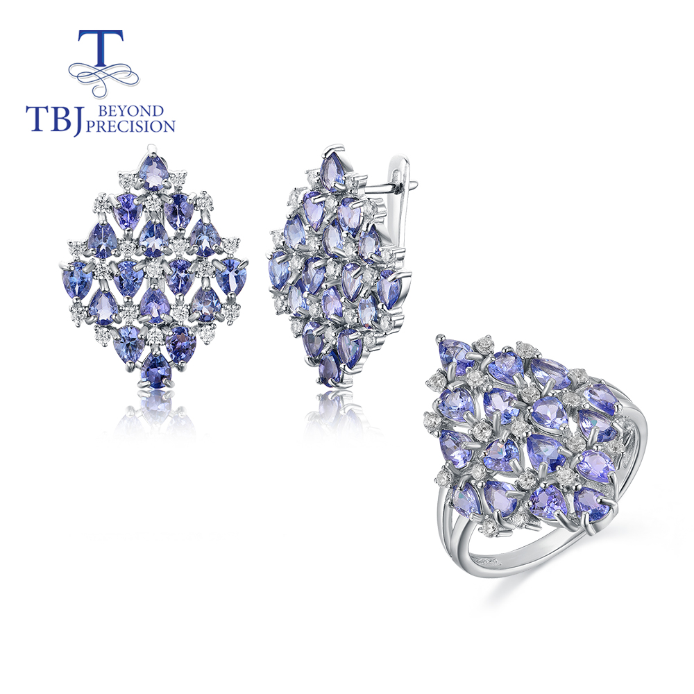 2020 Luxury natural 8ct Tanzanite jewelry set natural gemstone 925 sterling silver fine jewelry for women mom nice gift