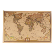 Antique Poster Wall-Chart World-Map Map-Of-World Home-Decor Vintage Large 1PCS Kraft-Paper