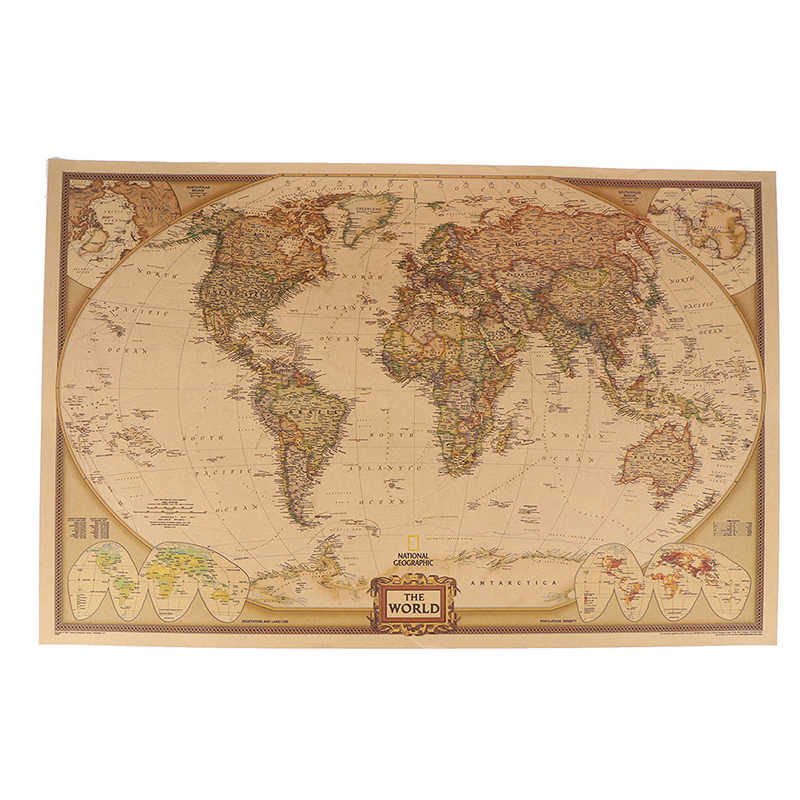1pcs Large Vintage World Map Detailed Antique Poster Wall Chart