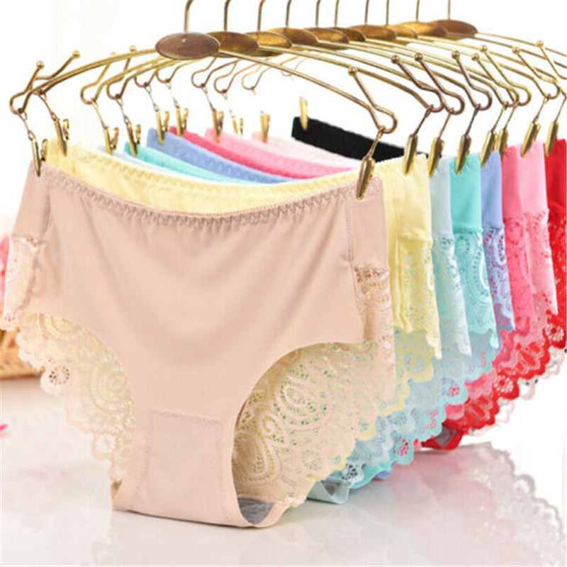 Women's Panties Silk ice Silk Seamless Lace Side Comfortable Underwear Panties Briefs Soft Solid See Through Summer Breathable