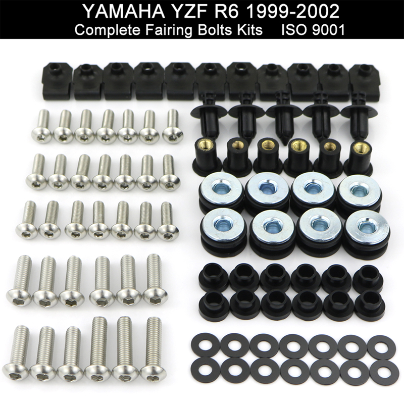 Fit For Yamaha YZFR6 YZF-R6 R6 1999 2000 2001 2002 Motorcycle Complete Full Fairing Bolts Kit Nuts Screws Kit Stainless Steel