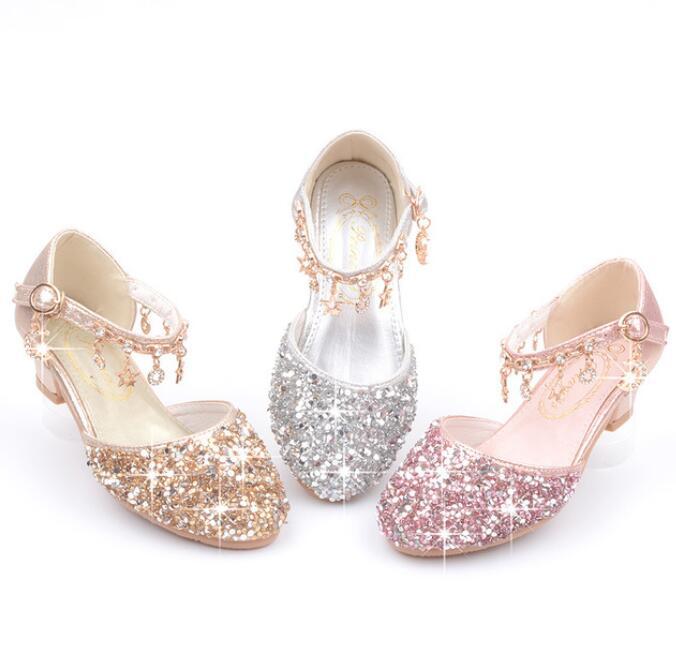 2020 menina quente sapatos glitter bling sandalias meninas de salto alto vestido de danca espumante cosplay