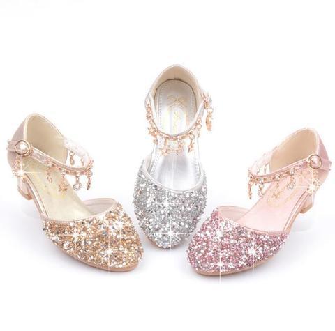 2020 menina quente sapatos glitter bling sandalias meninas de salto alto vestido de danca espumante