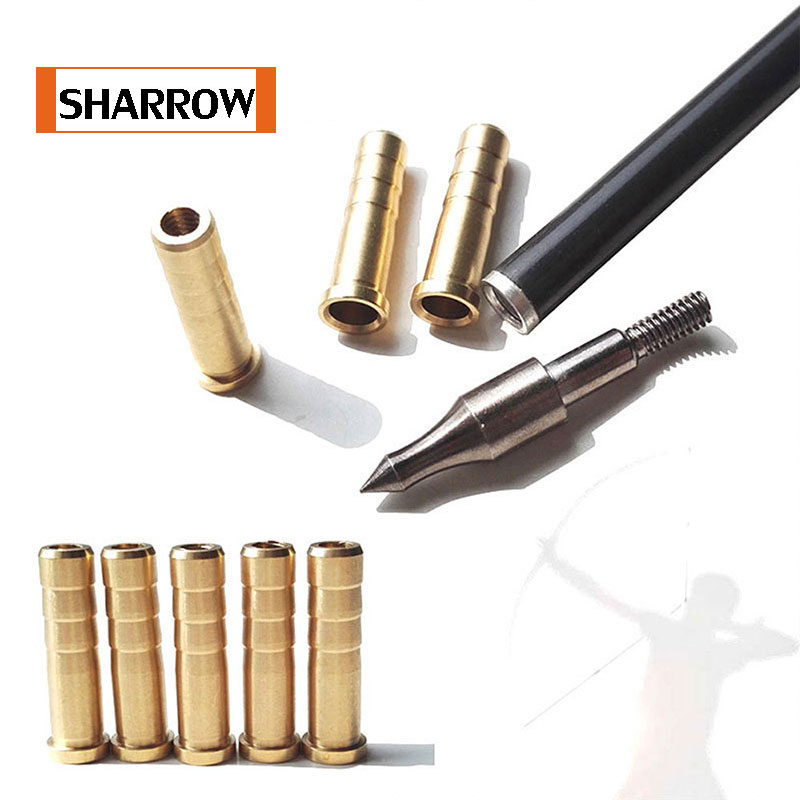 24 Pcs Free Shipping Archery Arrow Insert Copper 38 Grains 6.2mm Carbon Rod OD7.6mm Bob-Weight Broadhead