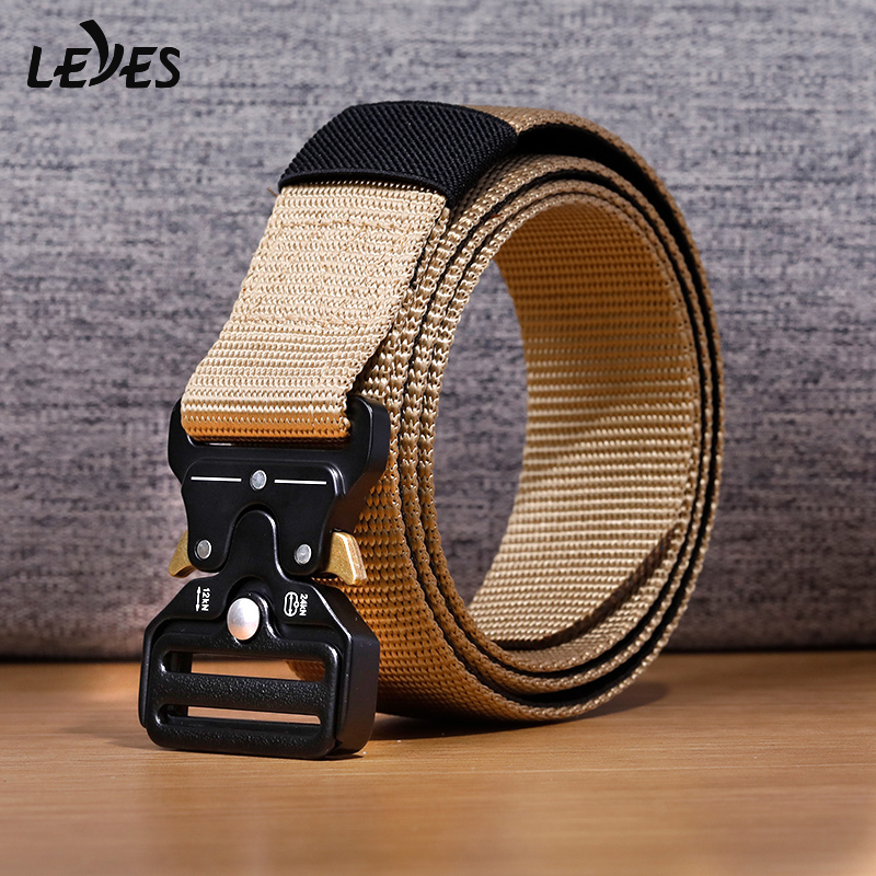 Tactical Belt Military Equipment High Quality Nylon Man Belts Emergency Survival Canvas Fast Freed Buckle Outdoor Belt Carabiner