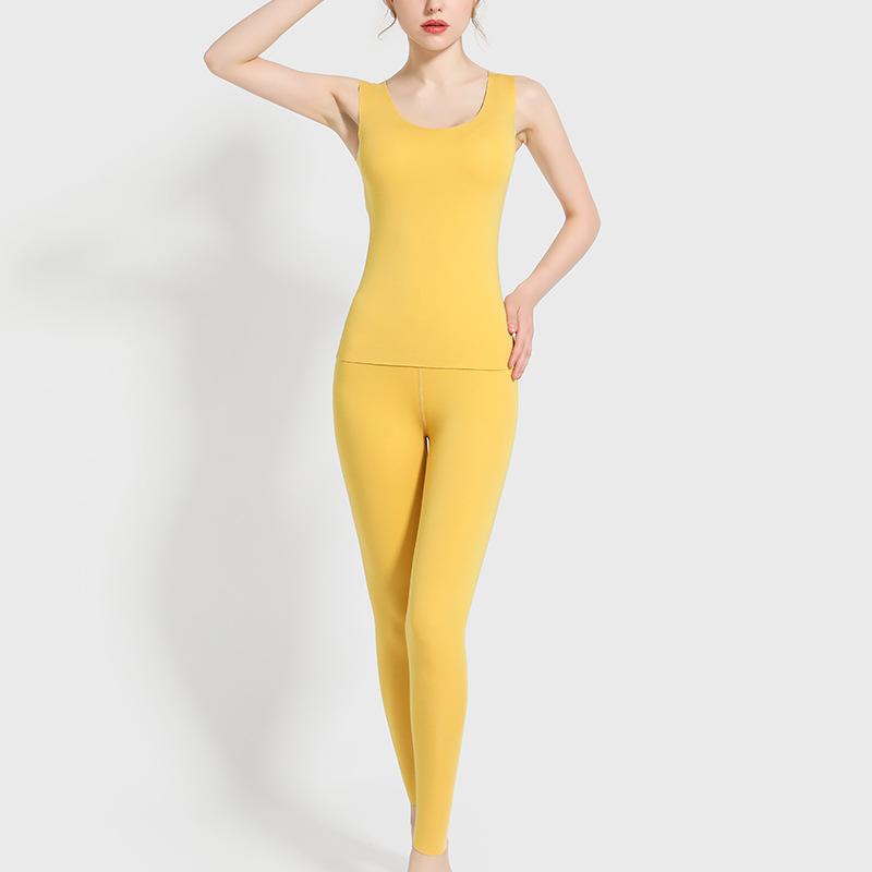 Women Thermal Underwear Sets Winter Velvet Vest+Trousers Thick Warm Pyjamas Suit Autumn Sleeveless Female Two Pieces Pajamas Set