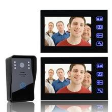7 Inch Video Door Phone Doorbell Intercom Kit 1-camera 2-monitor Night Vision with IR-CUT 1000TVL Camera