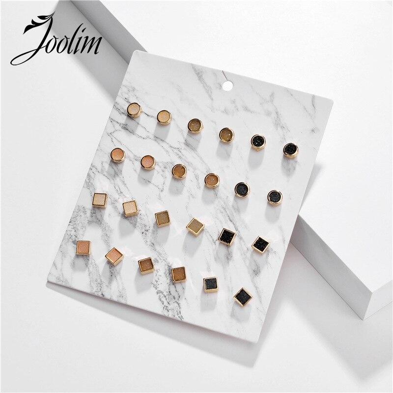 Joolim Dainty Druzy Stone Stud Earring Set 12pairs/set Card Packing Stud Earrings Lot Jewelry