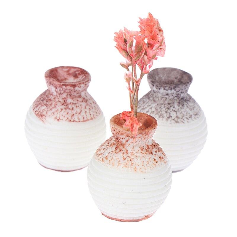 3PCS 1:12 Miniature Porcelain Vases Dollhouse Table Top Decor Accessories
