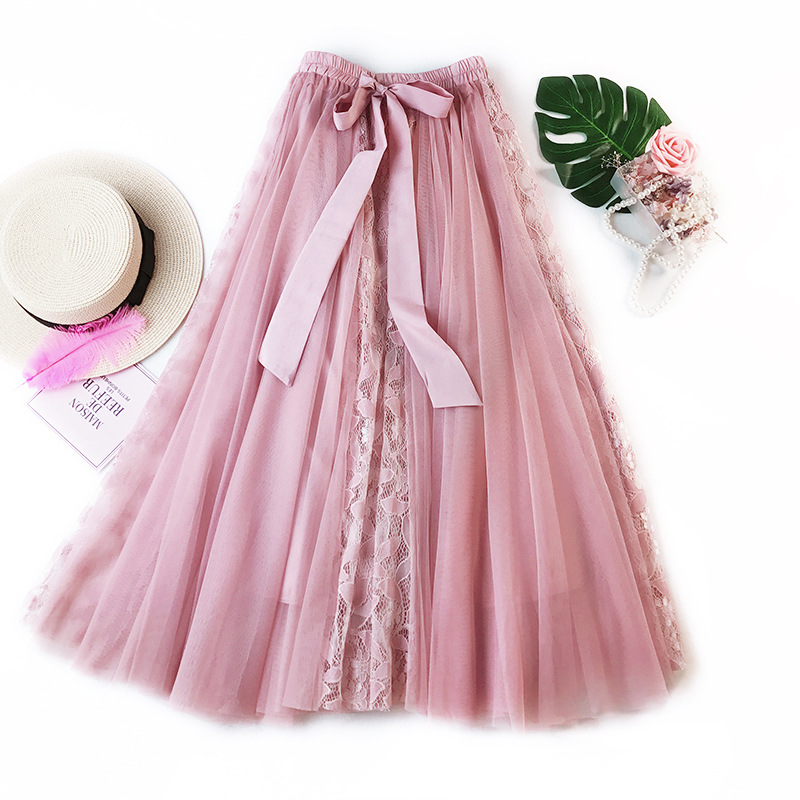 2020 Women Boho Long Skirt High Waist Bowtie Decorated Lace Mesh Patch Women Skirts Pink Jupe Femme Tulle Skirt Saia Faldas