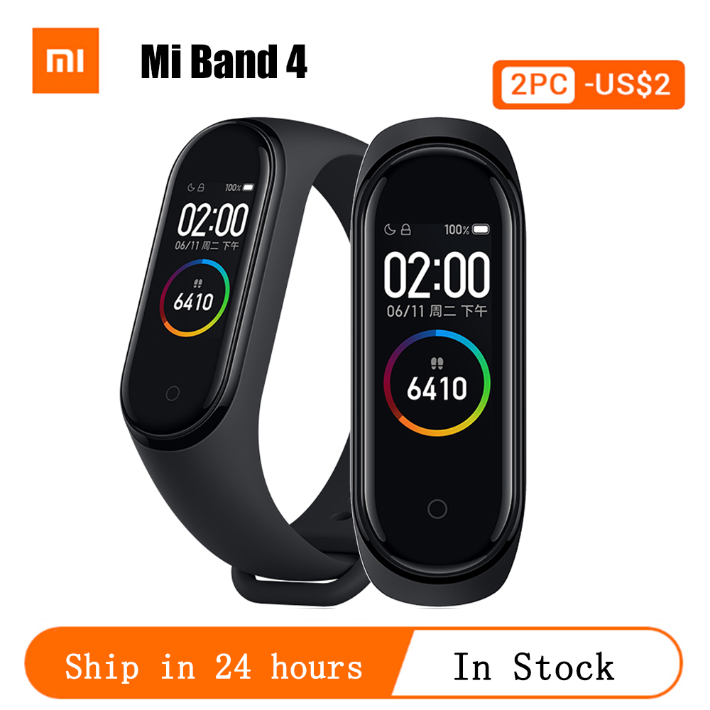 Original Global Version Xiaomi Mi Band 4 Bracelet Fitness Heart Rate Band Mi Band 4 Chinese Version Smart Wristband &Gift Strap