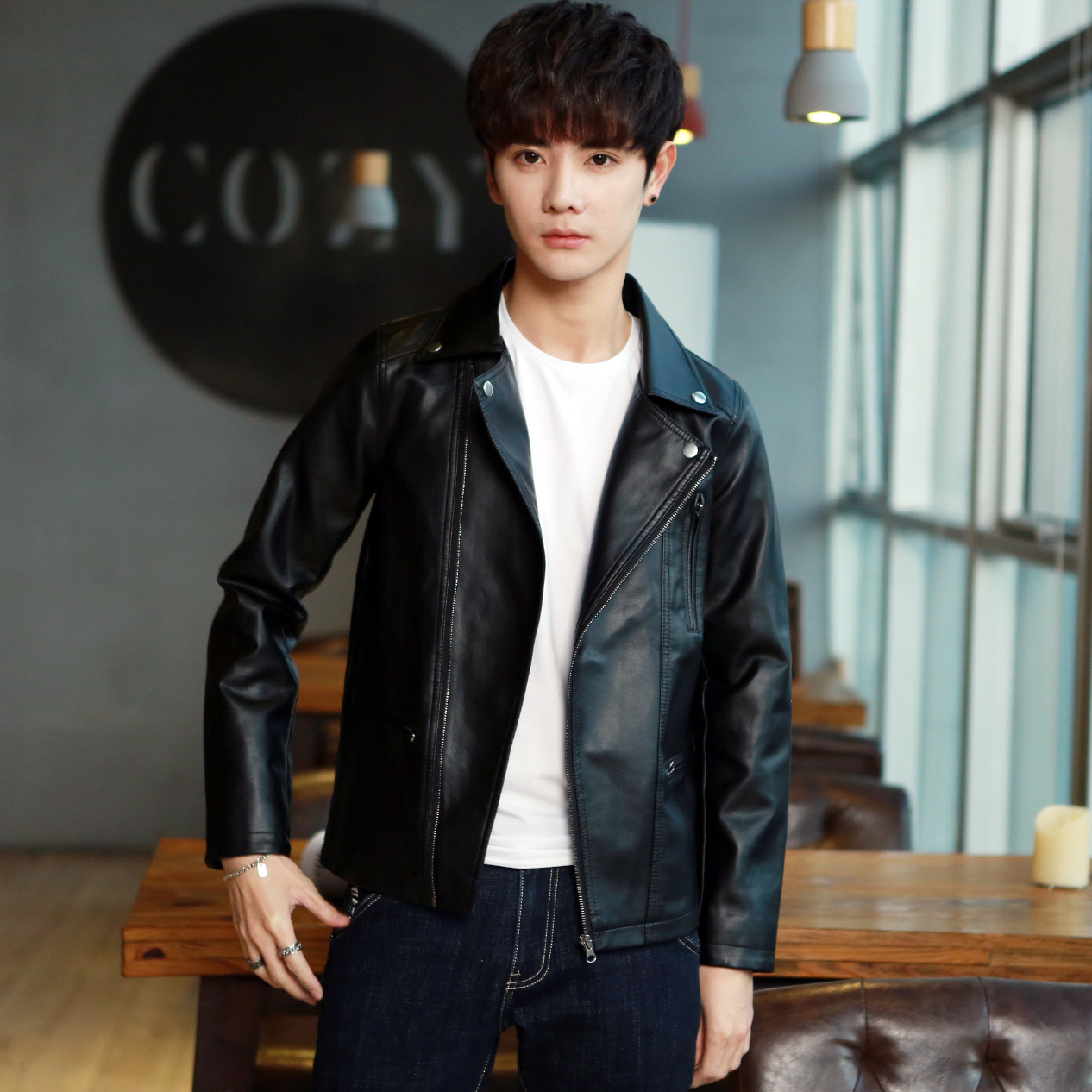 MEN'S Leather Coat Men's 2018 Winter New Style Handsome Leather Jacket Slim Fit Trend Locomotive Korean-style Spring And Autumn