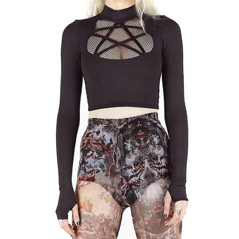 Streetwear chemise à manches longues femmes noir maille Patch T-Shirts recadrée haut dames Clubwear Slim haut ajusté