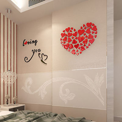 Romantic Heart DIY Acrylic Mirror Wall Stickers