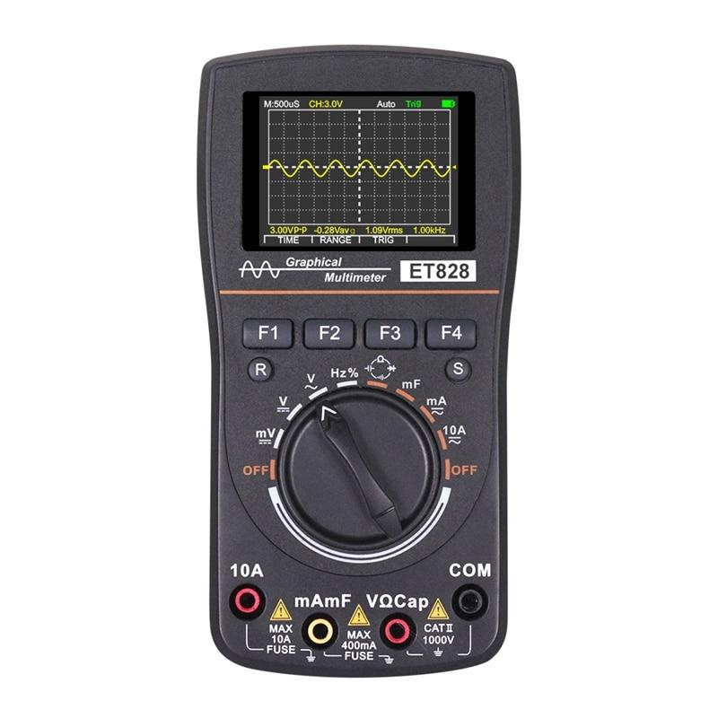 ET828 Intelligent Digital Oscilloscope Auto Range Graphical Multimeter 2 4inch Screen 1MHz 2 5MSPS Waveform for Electronic Test