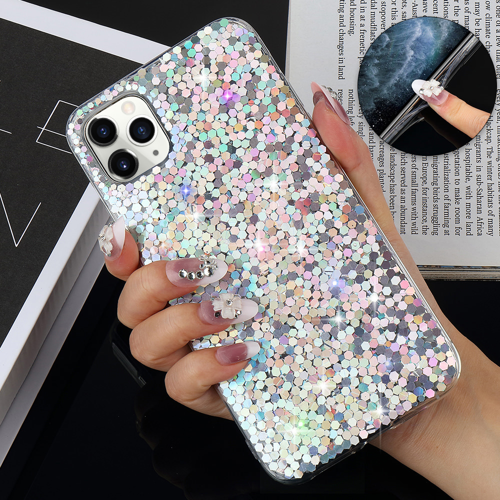 L-FADNUT Shockproof Bling Glitter Phone Cover For iPhone 11 Pro Case For iPhone Xs Max Xr X Soft 7 Plus 8 6S 6 5 5S SE Coque