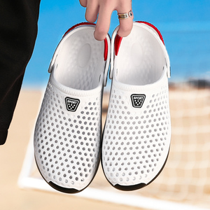 Image 1 - 2020 new couple sandals hole shoes unisex slippers hole garden shoes Crocse Adulto Cholas Hombre sandals