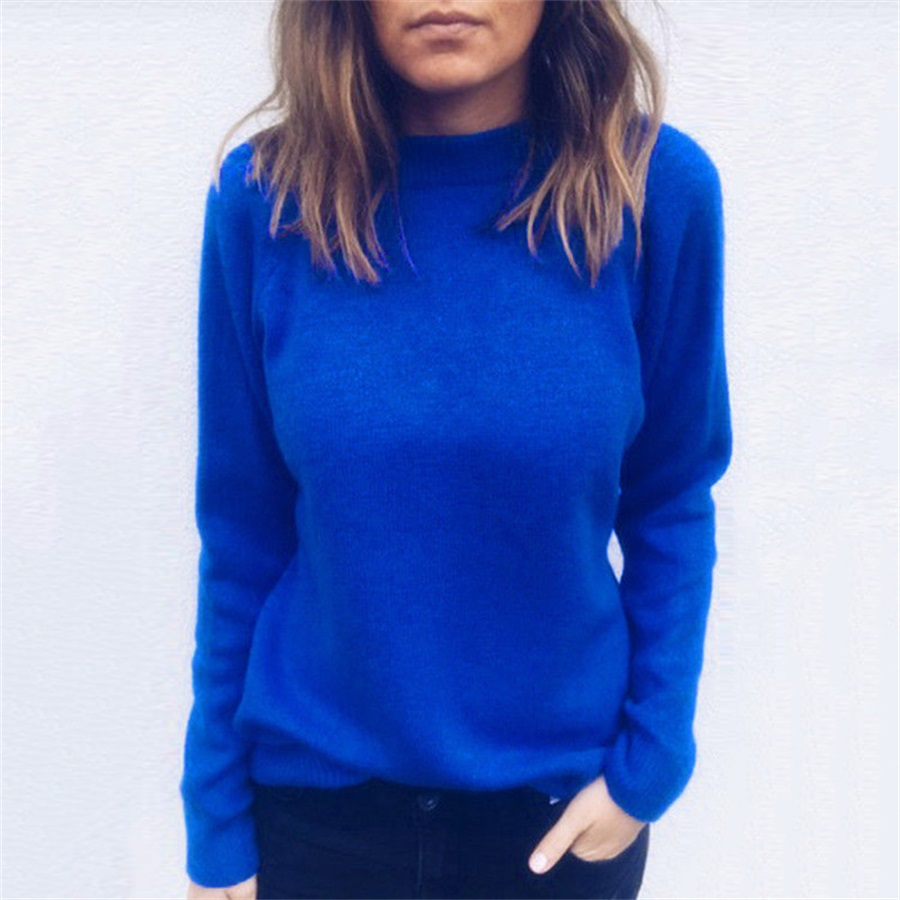 2019 autumn and winter fashion solid color knit bottoming shirt V-neck open back sweater image