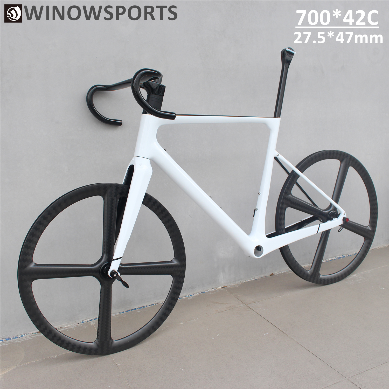 WINOWSPORTS Light Weight Carbon Gravel Bike Frame 12*100/12*142mm 650b 47mm Tyre 700*42C With Integrated Handlebars Cyclcross