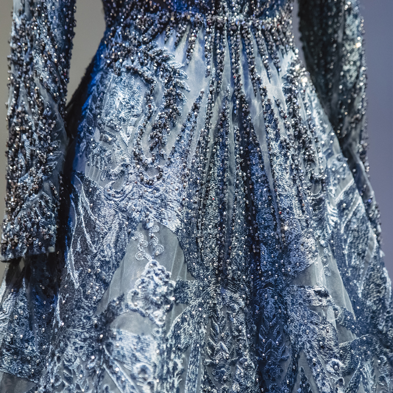 Free Ship╖Celebrity-Dresses Long-Sleeve Evening Luxury Lace Vestido Muslim Formal Dubai Beading