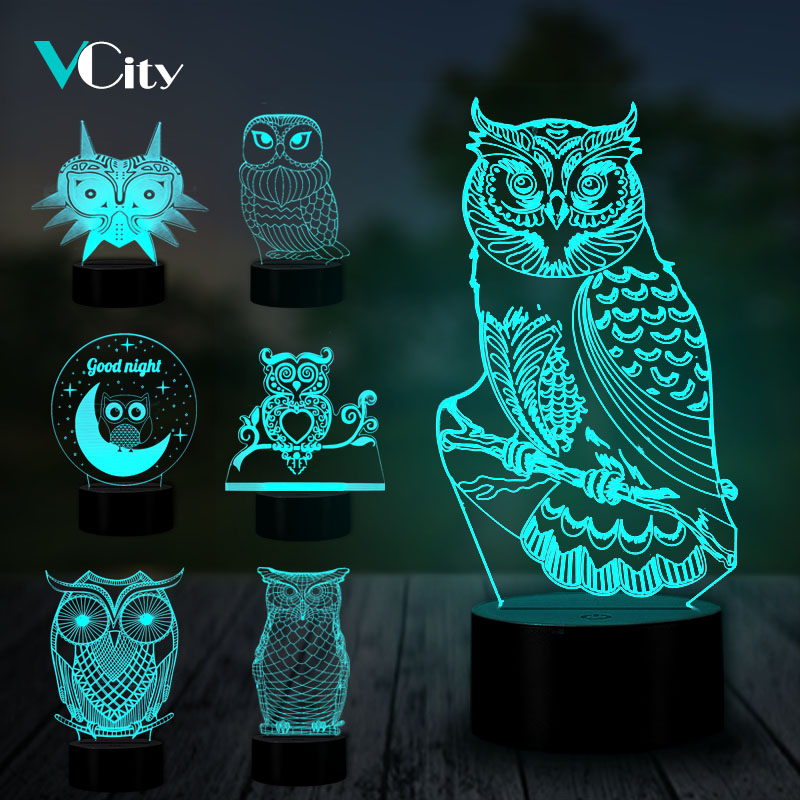 VCity Owl 3D USB LED Lamp Touch Remote Nightlight Bedroom Atmosphere Animal Lighting Decoration Birthday Christmas Gift For Kids image