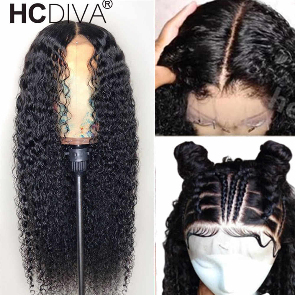 Kinky Curly Lace Frontal Wig Deep Part Remy Brazilian Wig For Women 13*6 Lace Frontal Human Hair Wigs Pre Plucked 180% Lace Wig
