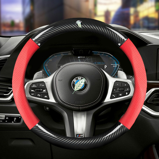 Car Carbon Fiber Steering Wheel Cover 38cm for BMW All Models 1 2 3 4 5 6 7 Series Auto Interior Accessories Car styling 3