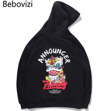 Bebovizi Harajuku Hip Hop Lion Dance Print Hoodies Sweatshirts Streetwear Chinese Style Pullover Cotton Black Hooded Tops
