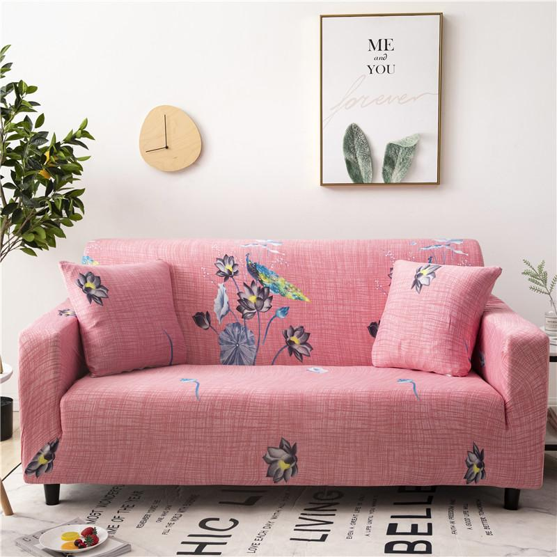 50 Pink Stretch Sofa Cover Colorful Feather Pattern Sectional Couch Cover All-inclusive Couch Cover <font><b>Furniture</b></font> Protector image