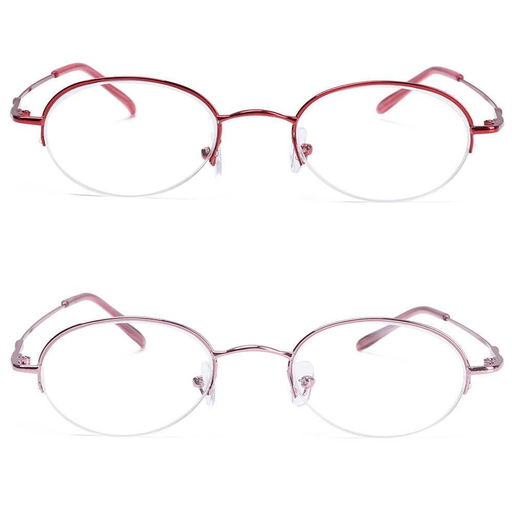 Металлические овальные очки с полуоправой, очки для близорукости, ультра светильник, очки для чтения из смолы, портативные очки для зрения, очки для ухода-1,0 ~-6,0 диоптрий