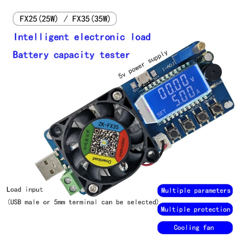 USB Load Tester 35W Constant Current Battery Capacity Tester