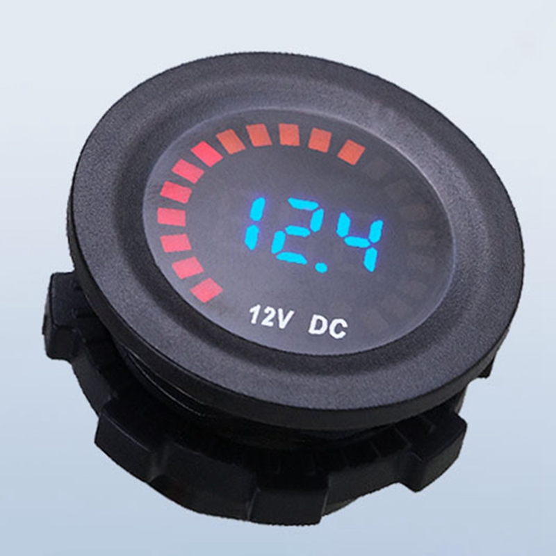 1 Pc 12VLED Digital Display Voltmeter Car Personality Modified Car Meter-Circular Electricity Voltmeter Mini Digital Voltmeter фото